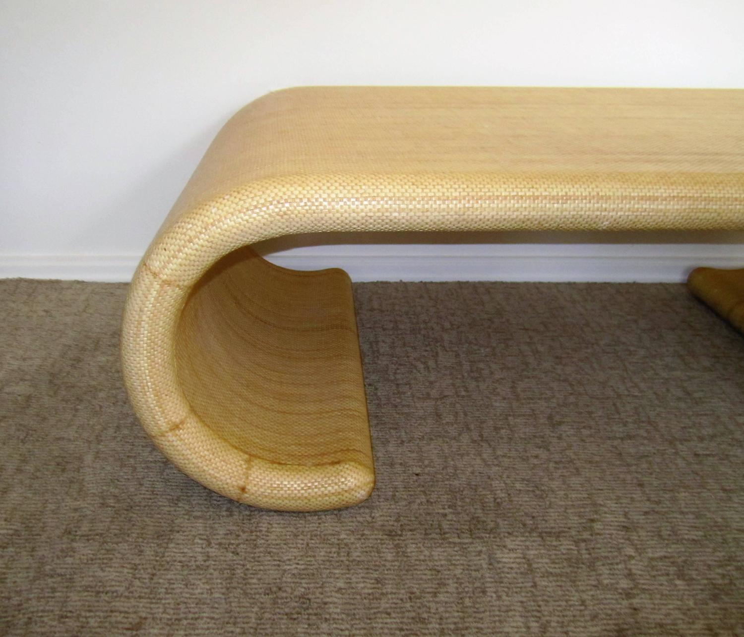 Vintage modern scroll coffee table in the style of karl for Antique scroll coffee table