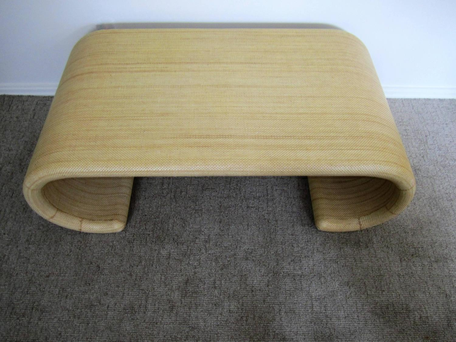 vintage modern scroll coffee table in the style of karl