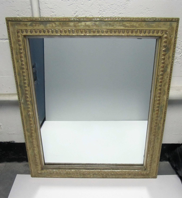 ... Vintage Distressed Wood and Metal Framed Mirror For Sale at 1stdibs