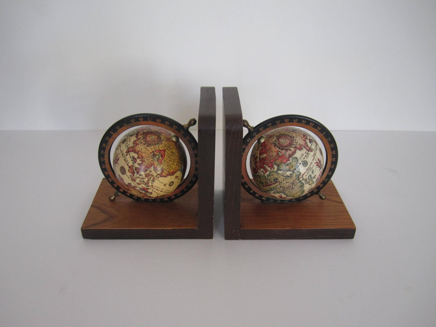 Vintage World Globe Bookends That Spin At 1stdibs