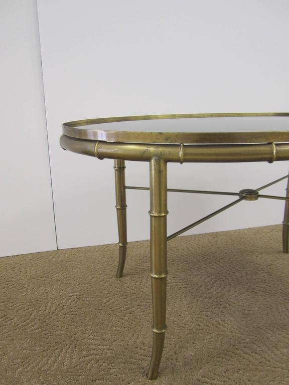 Mid-20th Century Italian Gold Brass Bamboo Cocktail Table with Black Mirror Glass Top For Sale