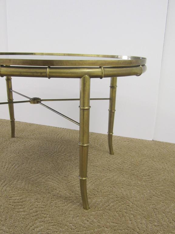 Italian Gold Brass Bamboo Cocktail Table with Black Mirror Glass Top For Sale 1