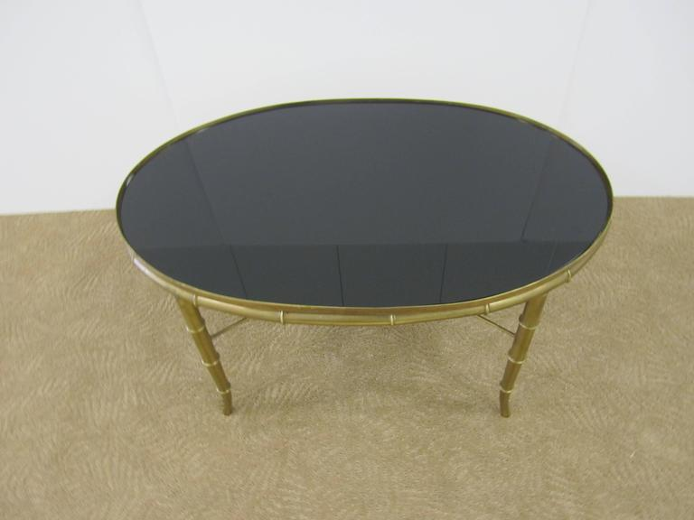 Italian Gold Brass Bamboo Cocktail Table with Black Mirror Glass Top For Sale 2