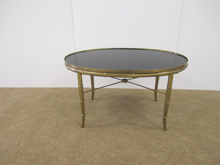 Italian Gold Brass Bamboo Cocktail Table with Black Mirror Glass Top For Sale 3