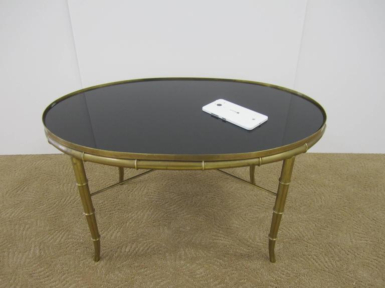 Italian Gold Brass Bamboo Cocktail Table with Black Mirror Glass Top For Sale 4