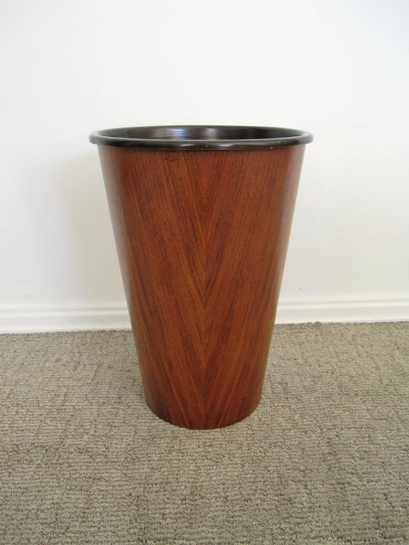A Beautiful Vintage Scandinavian Modern Teakwood Wastebasket Waste Basket Or Trash Can With Removable
