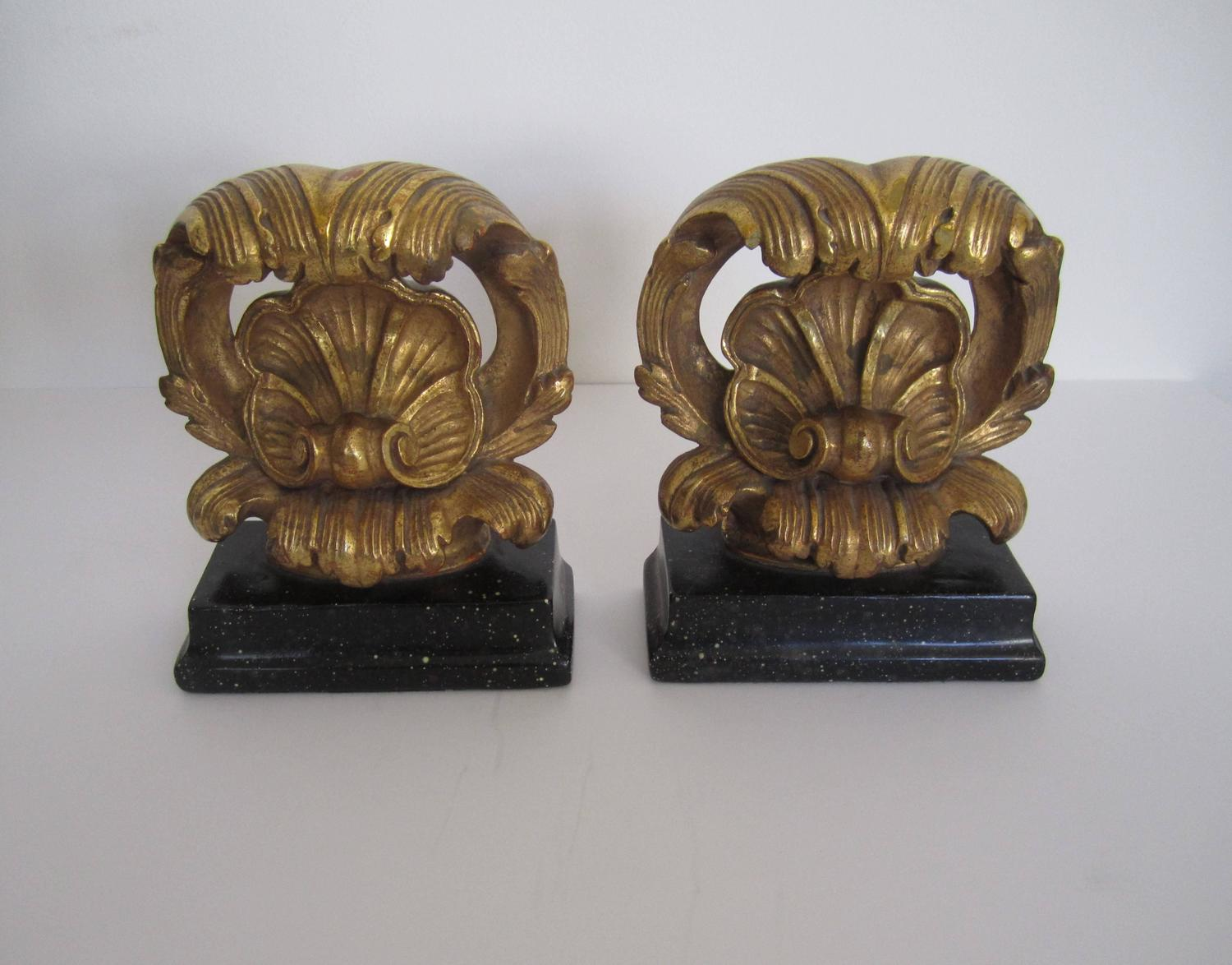 Beautiful Vintage Decorative Bookends On Black Bases At 1stdibs