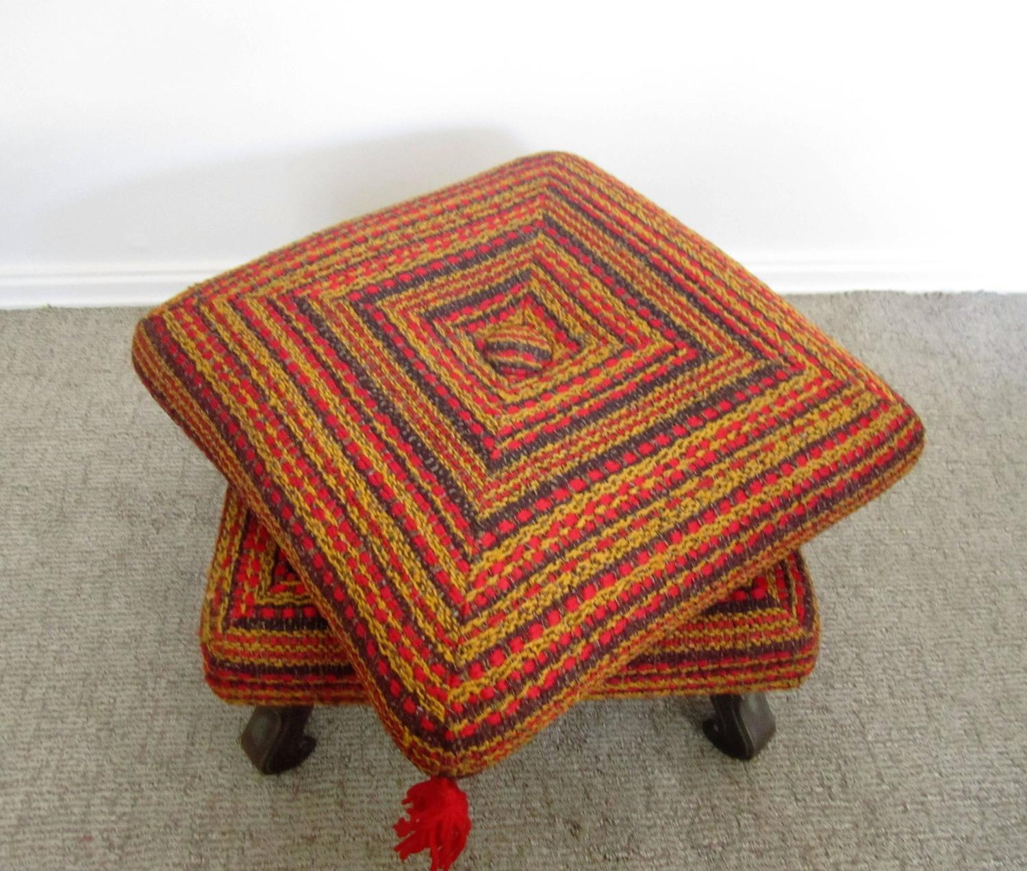 Vintage Colorful Ottoman, Bench Or Stool For Sale At 1stdibs
