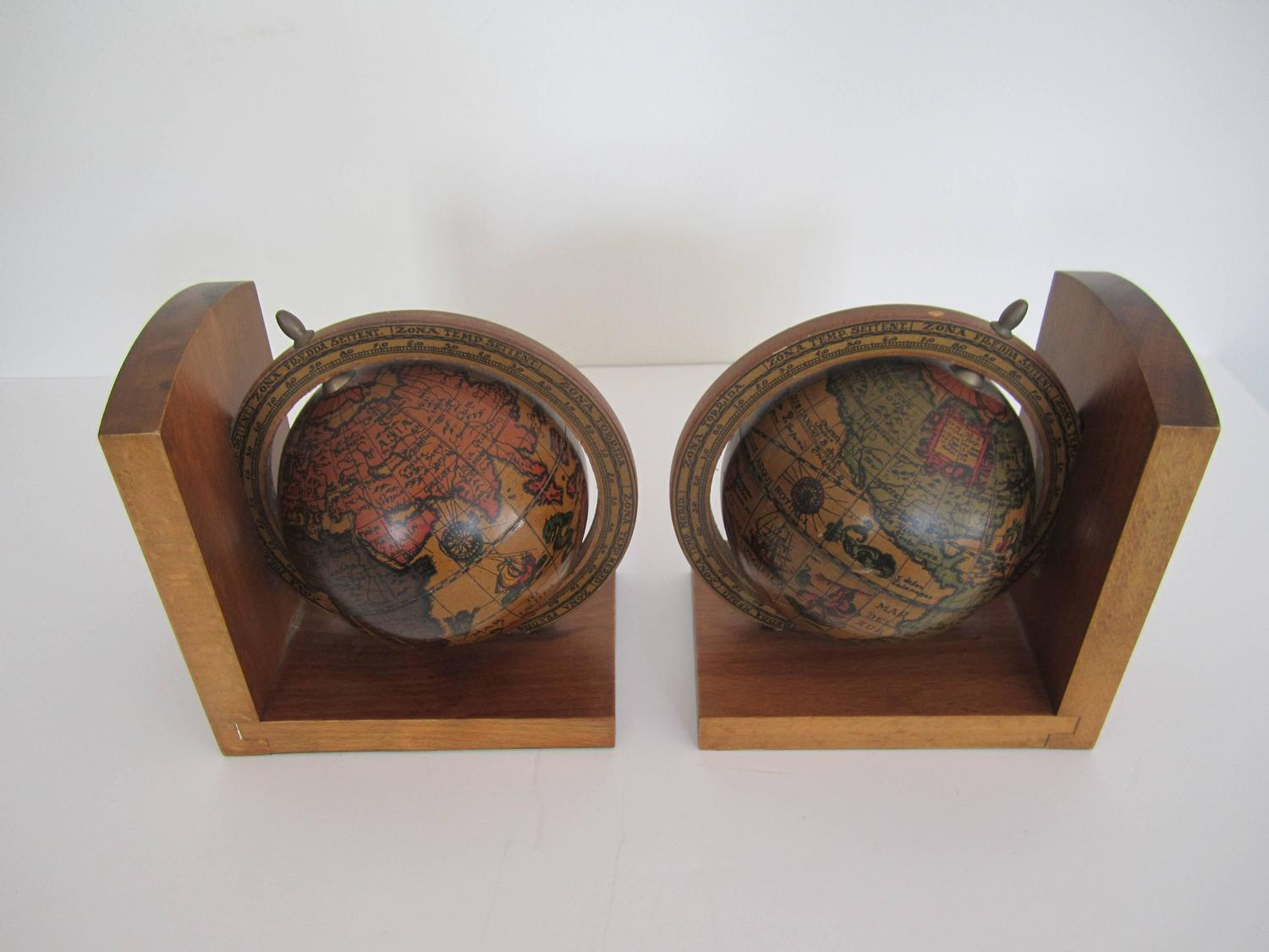 Vintage Spinning World Globe Bookends At 1stdibs