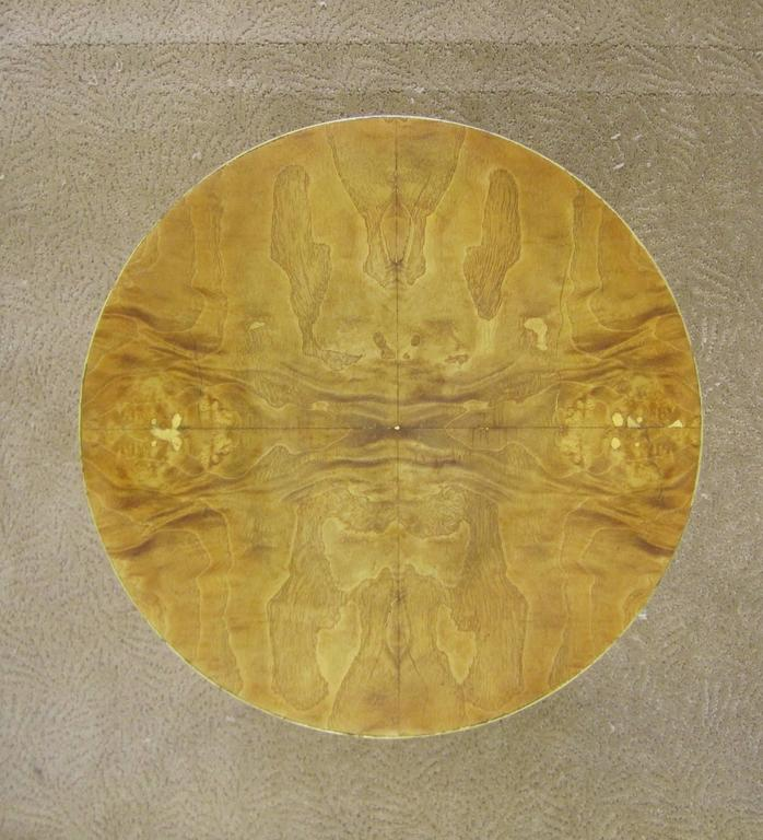 Veneer Vintage Modern Round Burl Wood Pedestal Side Table in the Style of Milo Baughman For Sale