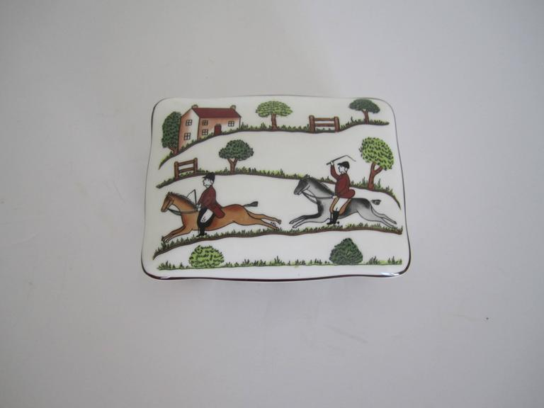 English Equestrian Horse Hunting Scene Box in the Style of Hermès For Sale