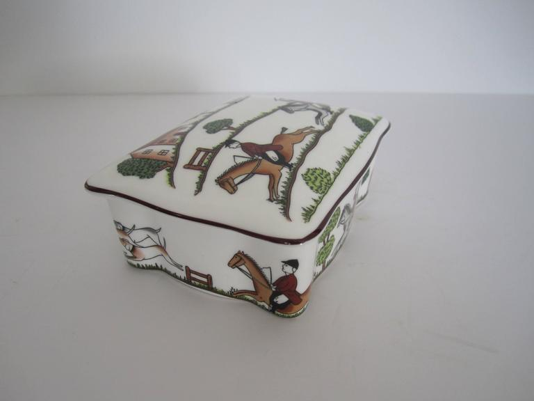 Porcelain Equestrian Horse Hunting Scene Box in the Style of Hermès For Sale