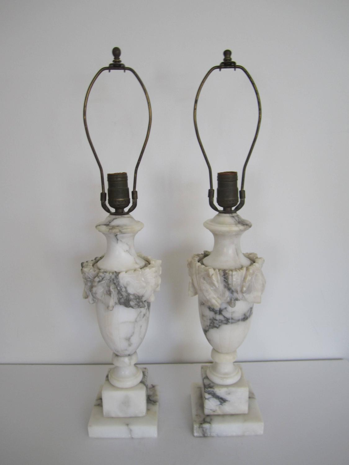 Vintage Classic Black And White Marble Lamps Italy For Sale At 1stdibs