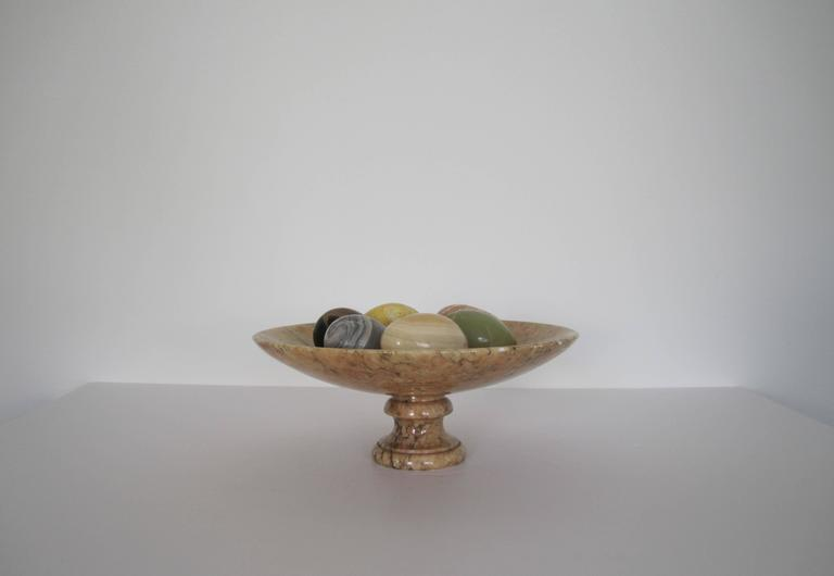 Vintage Alabaster Tazza Centerpiece With Marble And Onyx
