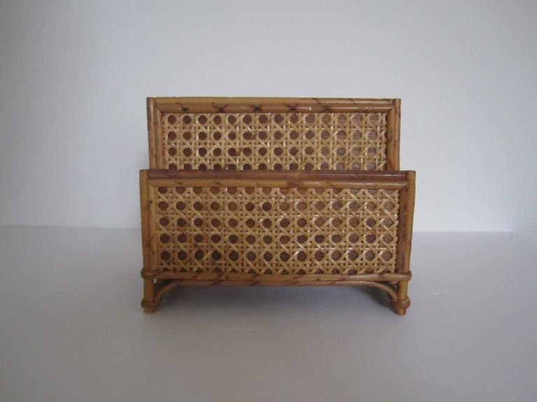 Vintage bamboo and rattan letter holder or desk organizer for Vintage letter holder desk