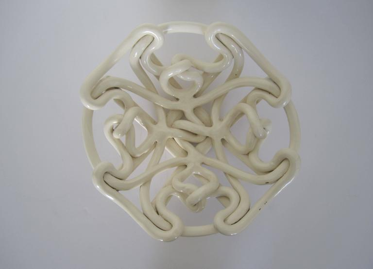Contemporary White Woven Pottery Ceramic Centerpiece Bowl For Sale