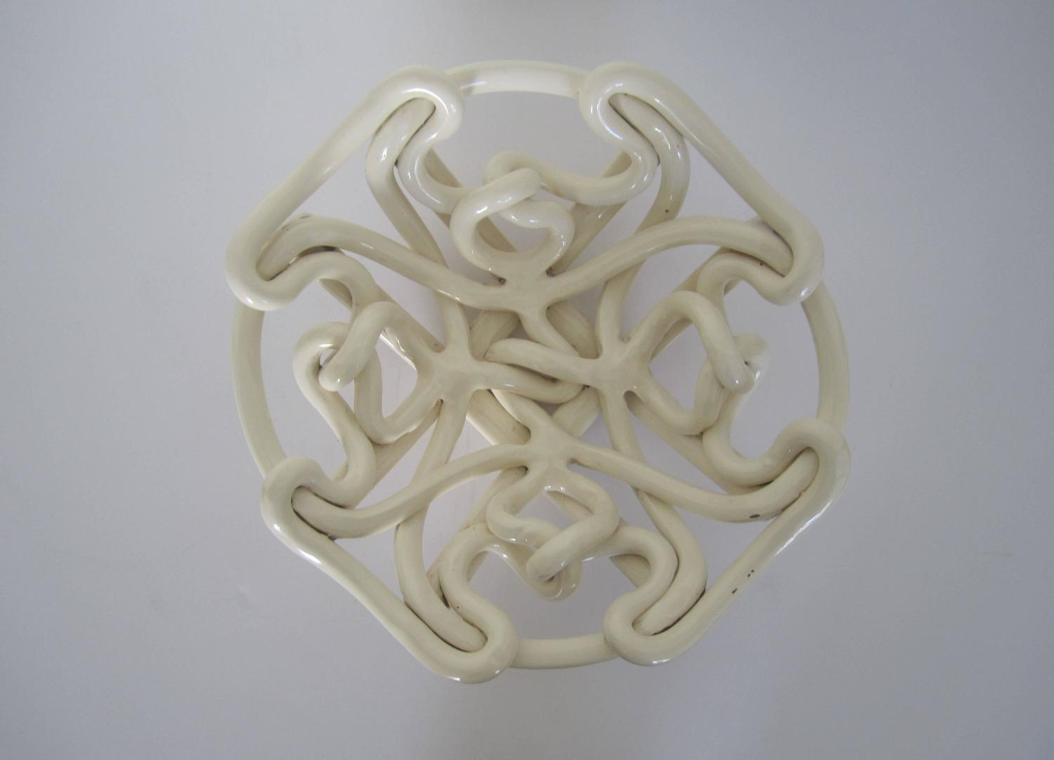 White woven glazed ceramic centerpiece bowl for sale at