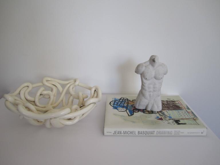 White Woven Pottery Ceramic Centerpiece Bowl For Sale 3