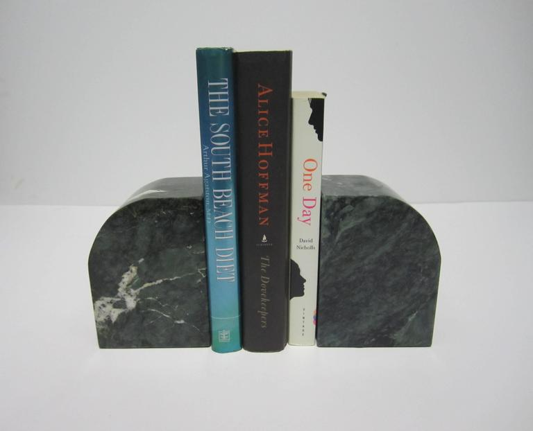 Post-Modern Pair Modern Italian Green and White Marble Bookends For Sale