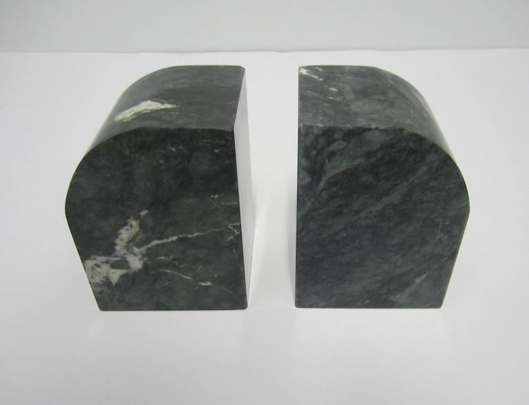 Polished Pair Modern Italian Green and White Marble Bookends For Sale