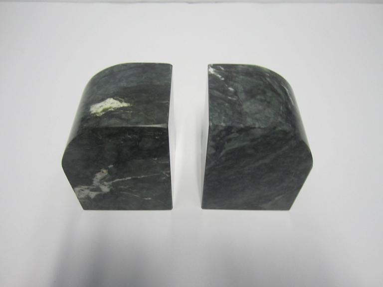 Pair Modern Italian Green and White Marble Bookends For Sale 1