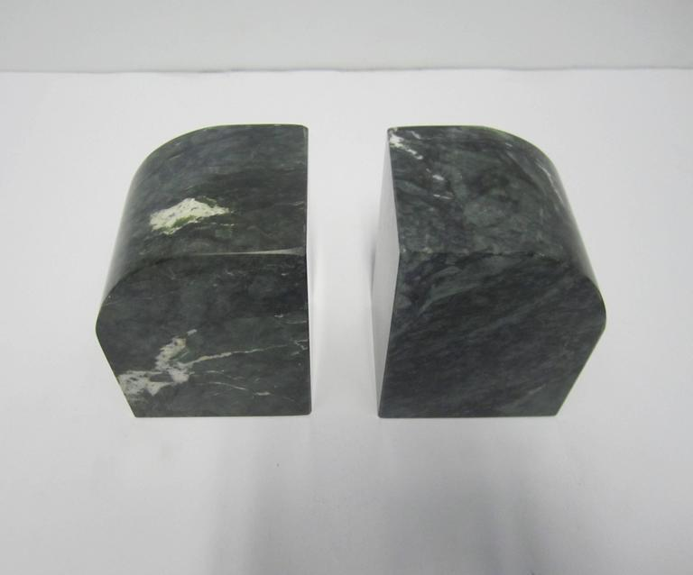 Pair Modern Italian Green and White Marble Bookends For Sale 2