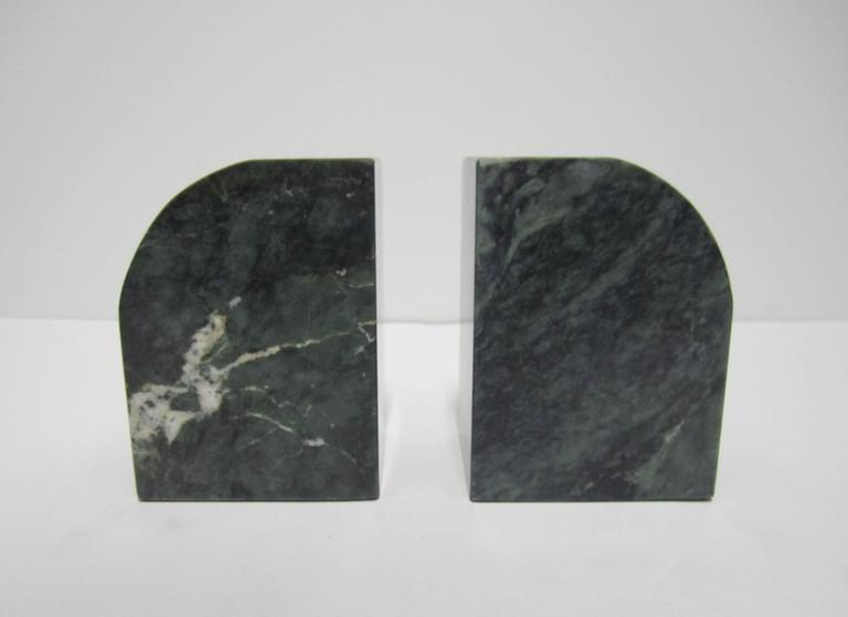 Pair Modern Italian Green and White Marble Bookends For Sale 3