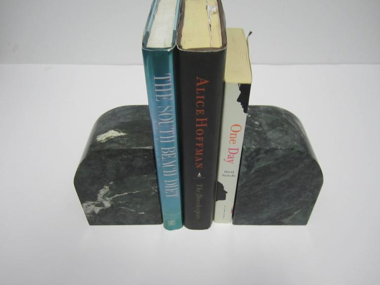 Pair Modern Italian Green and White Marble Bookends For Sale 4