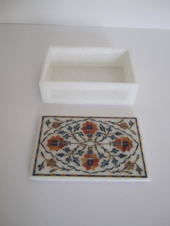 Vintage White Marble Box With Inlaid Top At 1stdibs
