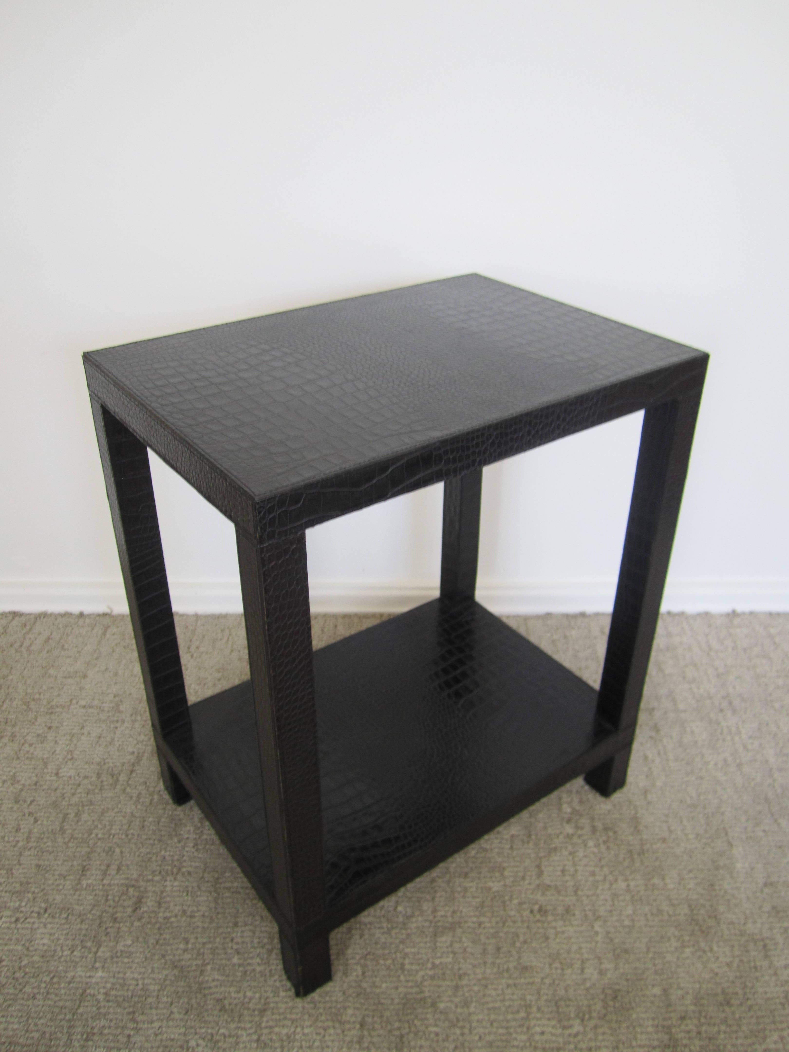 French Black Embossed Crocodile Leather End Table