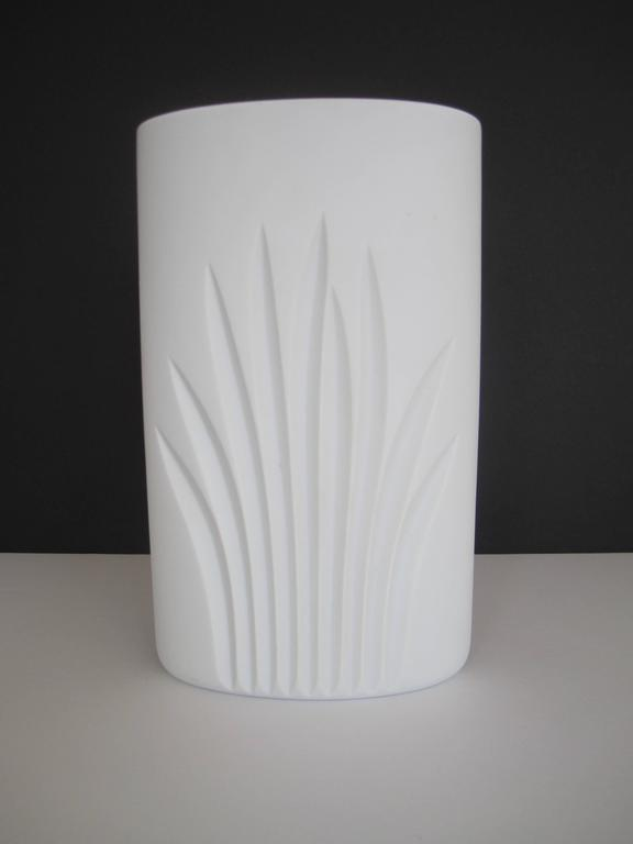 Organic Modern Vintage White Matte Porcelain Pottery Vase by Rosenthal, Germany For Sale