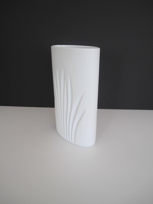 Vintage White Matte Porcelain Pottery Vase By Rosenthal