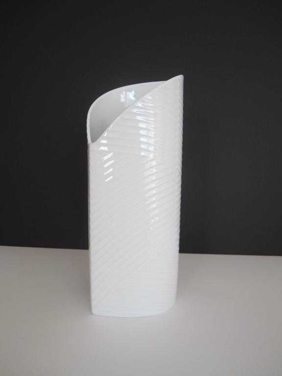 Glazed White Asymmetric Porcelain Ceramic Vase, Germany For Sale