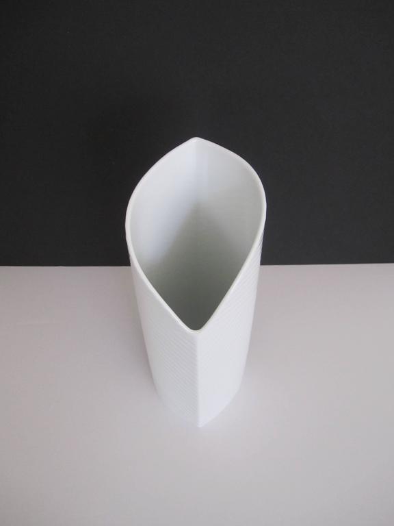 20th Century White Asymmetric Porcelain Ceramic Vase, Germany For Sale