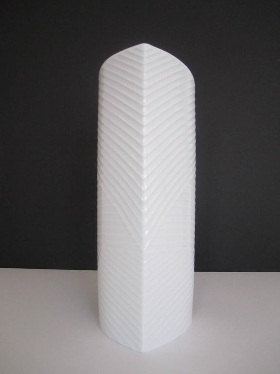White Asymmetric Porcelain Ceramic Vase, Germany For Sale 3