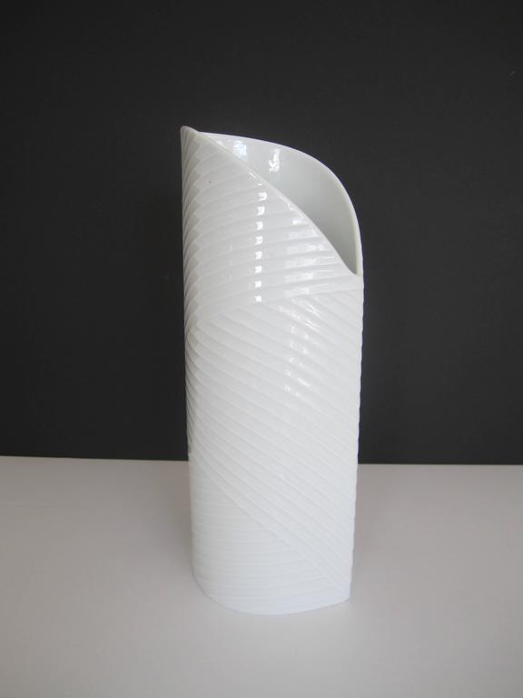 White Asymmetric Porcelain Ceramic Vase, Germany For Sale 2