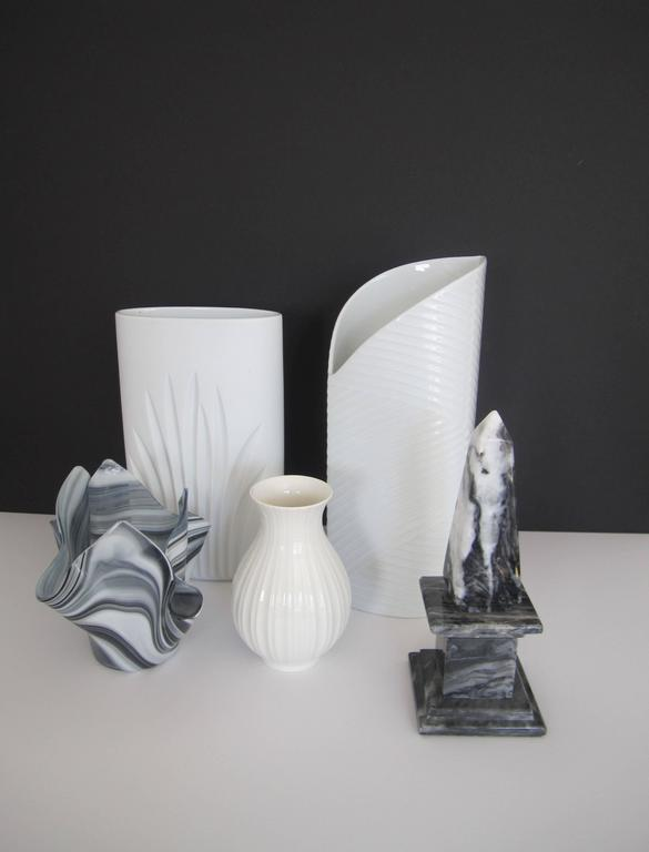 White Asymmetric Porcelain Ceramic Vase, Germany In Excellent Condition For Sale In New York, NY