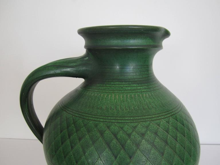 German Green Pottery Pitcher or Vase For Sale 8