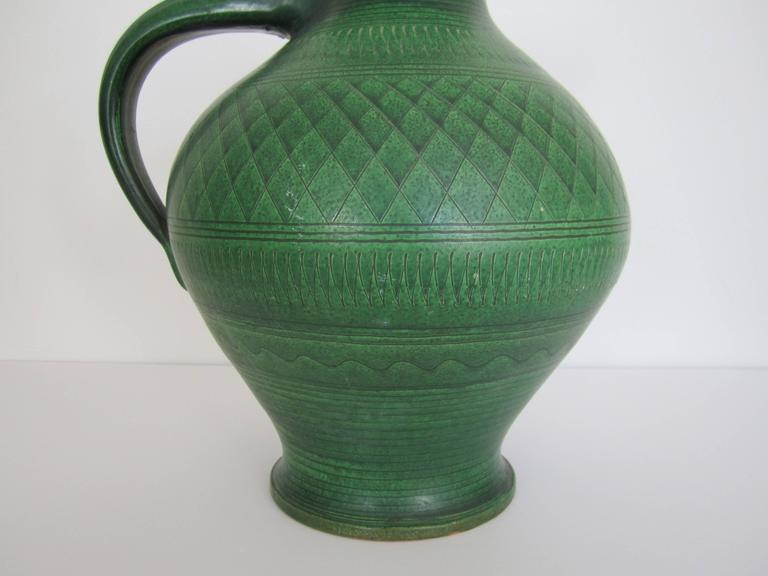 German Green Pottery Pitcher or Vase For Sale 10