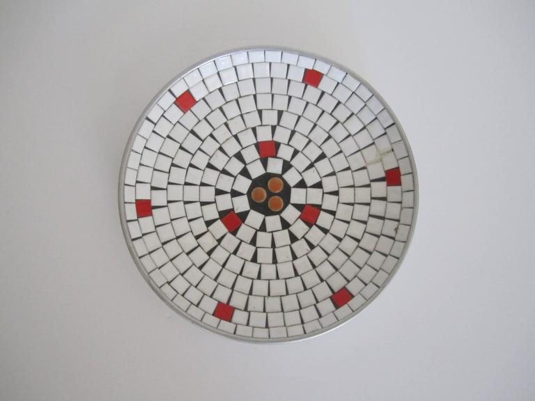 Mid-20th Century Mid-Century Modern White Mosaic Ceramic Tile Dish or Bowl For Sale