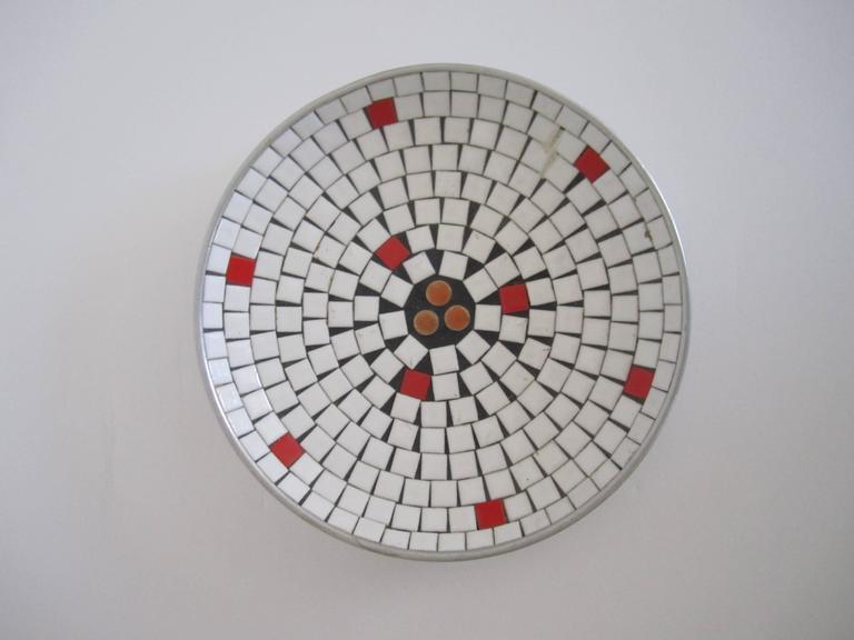 Metal Mid-Century Modern White Mosaic Ceramic Tile Dish or Bowl For Sale