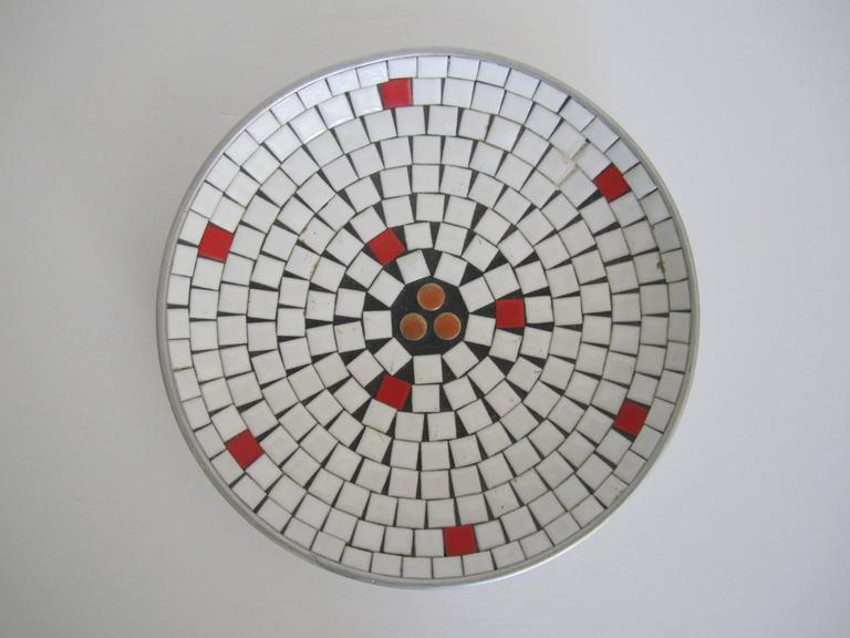 Mid-Century Modern White Mosaic Ceramic Tile Dish or Bowl For Sale 1