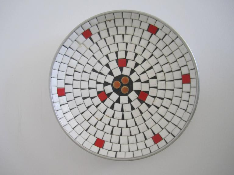 Mid-Century Modern White Mosaic Ceramic Tile Dish or Bowl For Sale 2