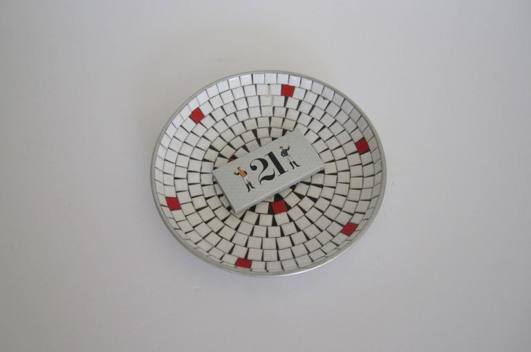 Mid-Century Modern White Mosaic Ceramic Tile Dish or Bowl For Sale 3