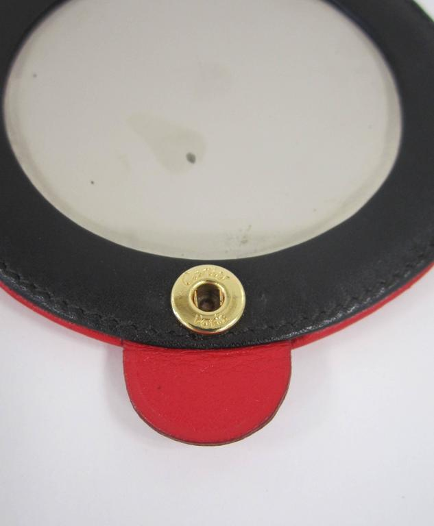 Vintage Red Leather Cartier Compact Mirror Paris At 1stdibs