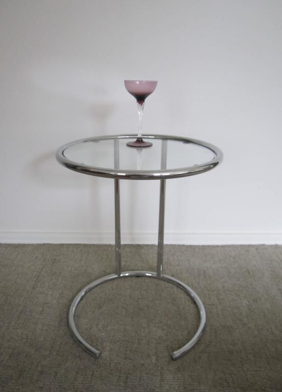 Vintage Modern Italian Chrome And Glass Side Table Italy