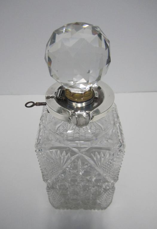 Antique English Sterling Silver and Crystal Liquor Spirit Decanter For Sale 1