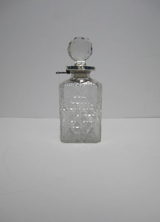 Antique English Sterling Silver and Crystal Liquor Spirit Decanter In Good Condition For Sale In New York, NY