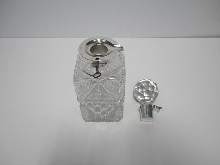 Antique English Sterling Silver and Crystal Liquor Spirit Decanter For Sale 4