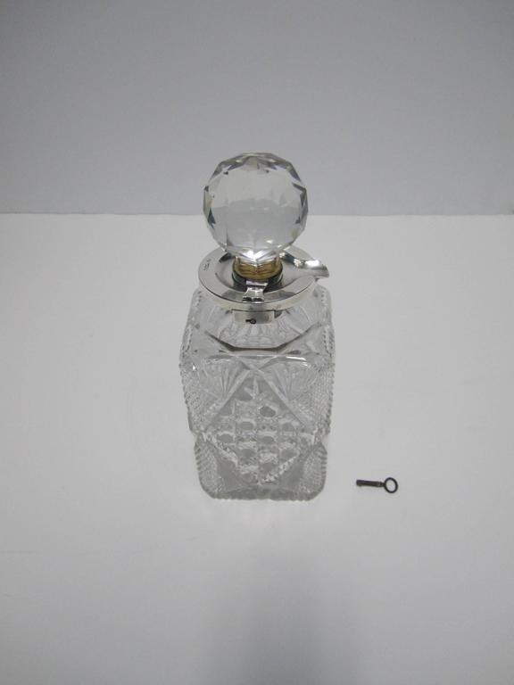 Antique English Sterling Silver and Crystal Liquor Spirit Decanter For Sale 5